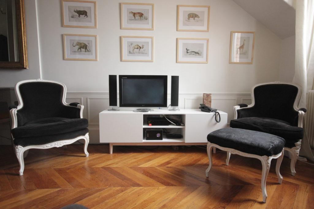 Un appartement 2 pièces complètement rénové et transformé. Salon Louis XV restauré et repeint, meuble tv inspiration scandinave, gravures de dessins naturalistes. One bedroom flat makeover.