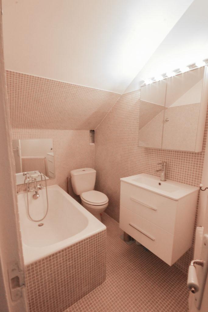 Un appartement 2 pièces complètement rénové et transformé. Salle de bains carrelée entièrement en mosaique. One bedroom flat makeover: the bathroom.