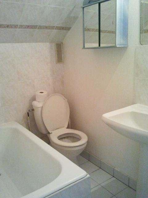 Un appartement 2 pièces complètement rénové et transformé en appartement haussmannien. La salle de bains à rafraichir