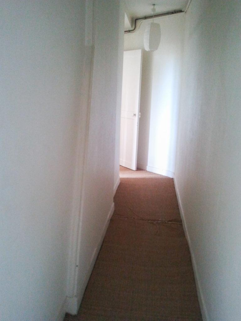 Un appartement 2 pièces complètement rénové et transformé en appartement haussmannien. Le couloir de l'appartement avec jonc de mer défraichi