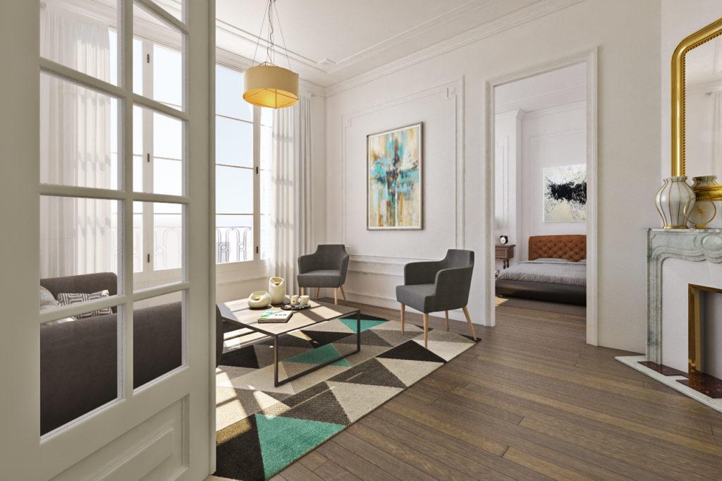 plan d'aménagement d'un petit appartement haussmannien : modélisation 3D du style envisagé.
