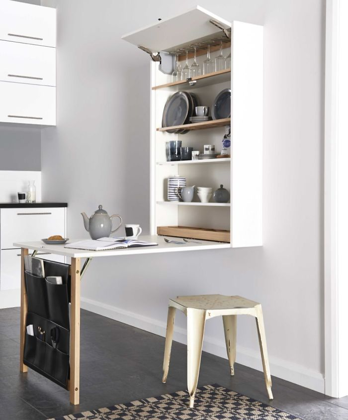 optimize the space with modular furniture like this foldable table