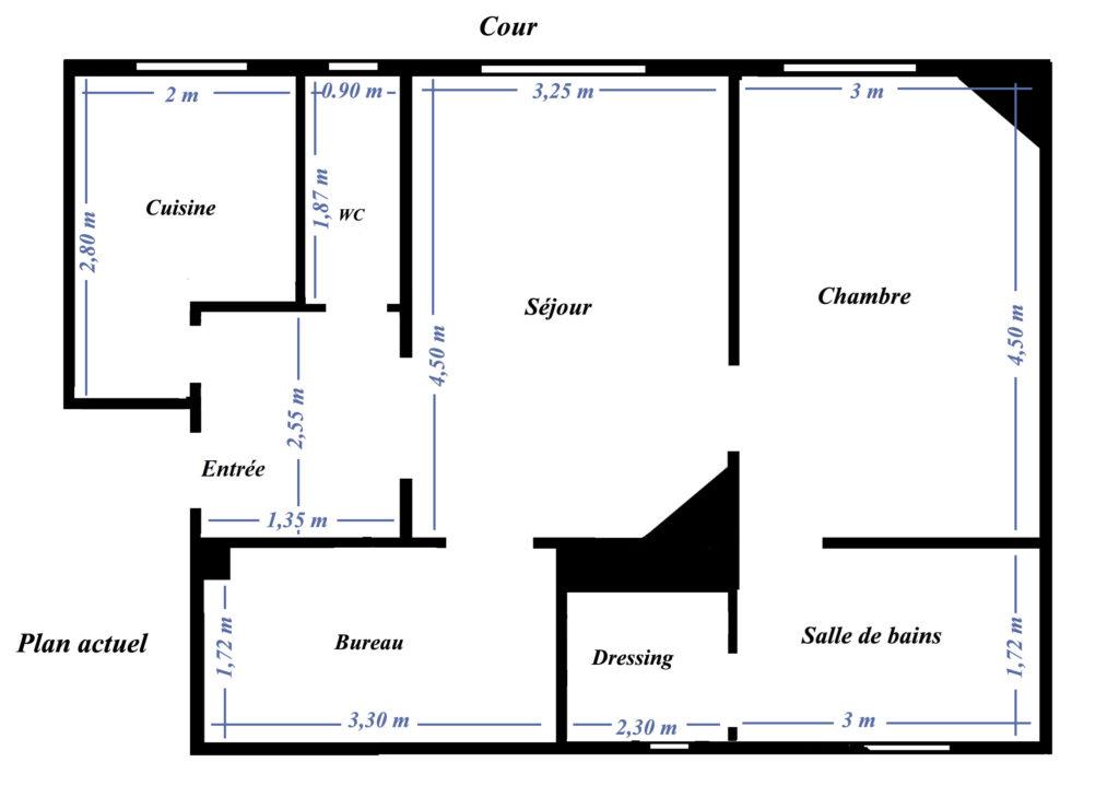 plan d'origine d'un appartement 2 pièces haussmannien, avant plan d'aménagement et modélisation 3d