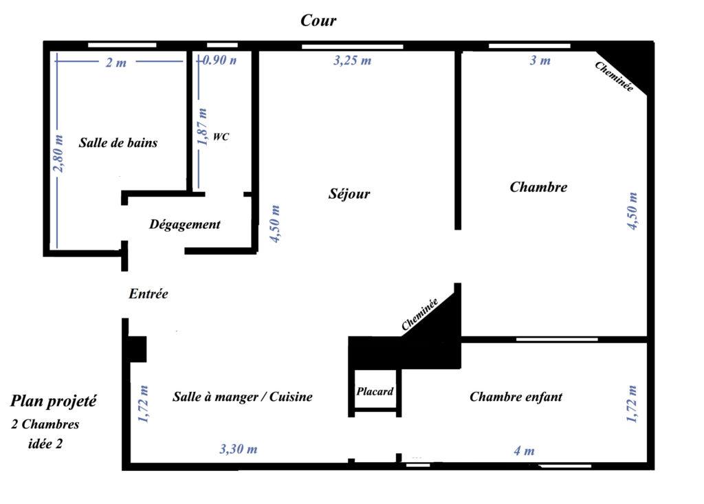 plan d'aménagenent d'un appartement 2 pièces haussmannien